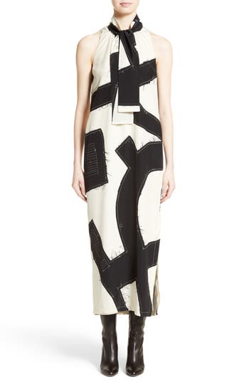 Max Mara Agiato Print Silk Dress, White