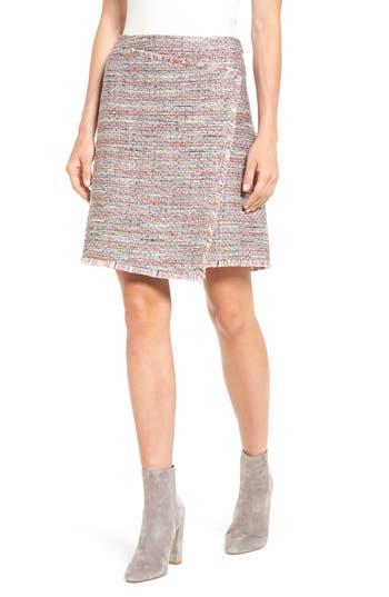 Women's Halogen Fringe Tweed Faux Wrap Skirt