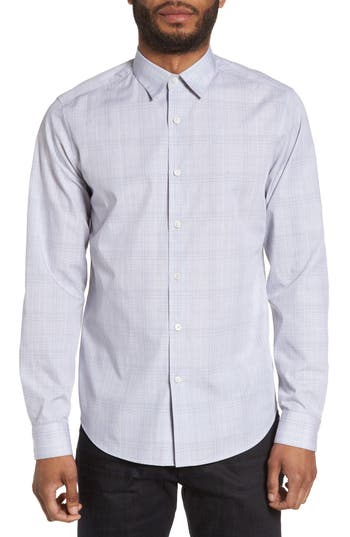 Men's Theory Sylvain Trim Fit Streak Plaid Sport Shirt