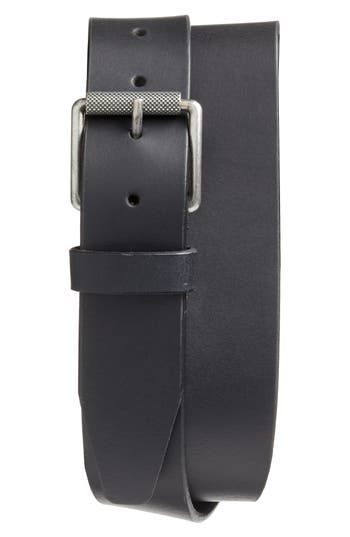 Big & Tall 1901 Roller Buckle Leather Belt, Black
