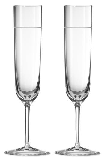 Vera Wang X Wedgwood Bande Set Of 2 Crystal Champagne Flutes, Size One Size - Metallic