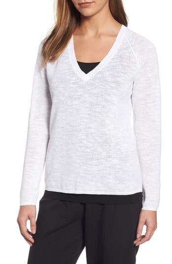 Eileen Fisher V-Neck Organic Linen & Cotton Sweater, White