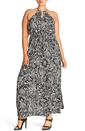 Plus Size City Chic Halter Maxi Dress, Black