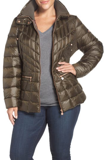 Plus Size Bernardo Packable Jacket With Down & Primaloft Fill, Green