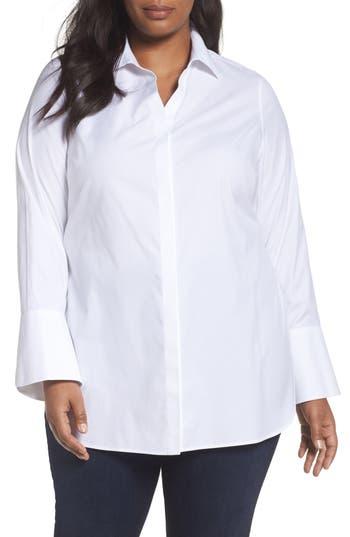 Plus Size Foxcroft Non-Iron Stretch Poplin Tunic, White