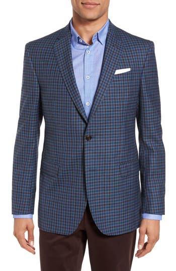 Ted Baker London Jay Trim Fit Check Wool Sport Coat, S - Blue