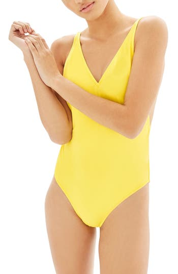 Topshop Pamela One-Piece Swimsuit, US (fits like 6-8) - Yellow