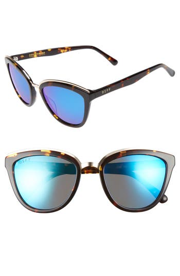 Women's Diff Rose 55Mm Polarized Mirrored Sunglasses - Tortoise/ Blue