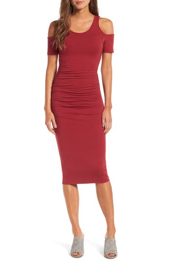 Michael Stars Cold Shoulder Body-Con Dress, Red