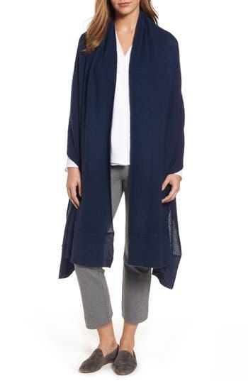 Women's Halogen Cardigan Stitch Cashmere Wrap, Size One Size - Blue