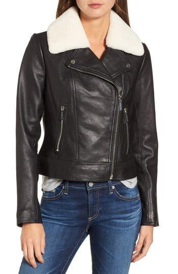 Michael Michael Kors Genuine Shearling Moto Jacket