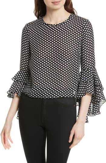 Women's Milly Gabby Dot Crepe Bell Sleeve Silk Top, Size 2 - Black