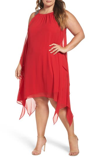 Plus Size Xscape Embellished Handkerchief Hem Trapeze Dress, Red