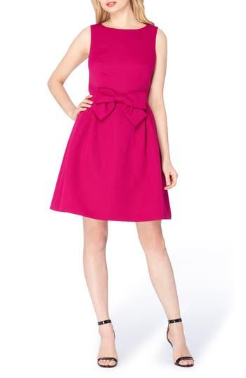 Petite Tahari Bow Fit & Flare Dress, Pink