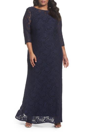 Plus Size Alex Evenings Lace A-Line Gown, Blue