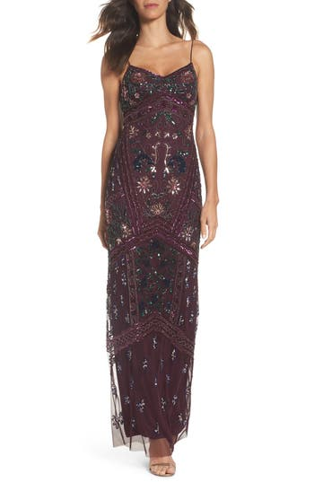 Adrianna Papell Floral Beaded Column Gown, Purple