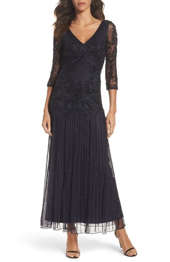 Pisarro Nights Embellished Mesh Drop Waist Dress
