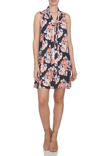 Cece Floral Tie Neck Swing Dress, Black