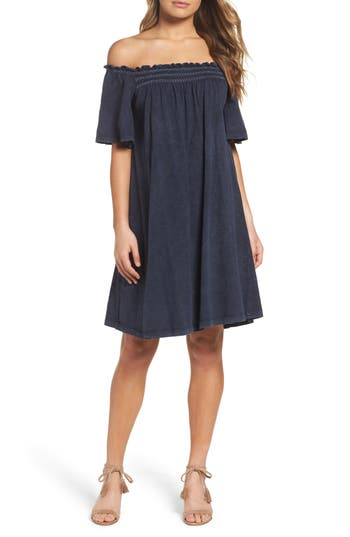 French Connection Chisulo Off The Shoulder Swing Dress, Blue