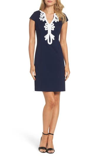 Eliza J Cap Sleeve Embroidered Sheath Dress
