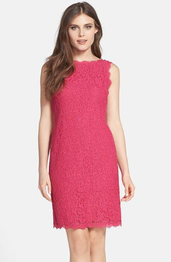Adrianna Papell Boatneck Lace Sheath Dress