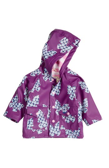Infant Girl's Hatley Butterflies Hooded Raincoat, Size 18-24M - Purple