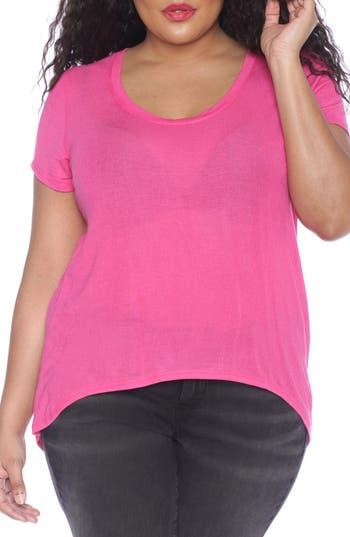 Plus Size Women's Slink Jeans High/low Scoop Neck Tee, Size 0X - Purple