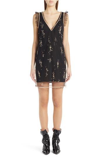 Msgm Imitation Pearl Embellished Tulle Dress, US / 42 IT - Black
