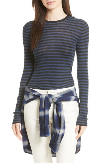 Women's Vince Stripe Cashmere Sweater, Size X-Small - Blue