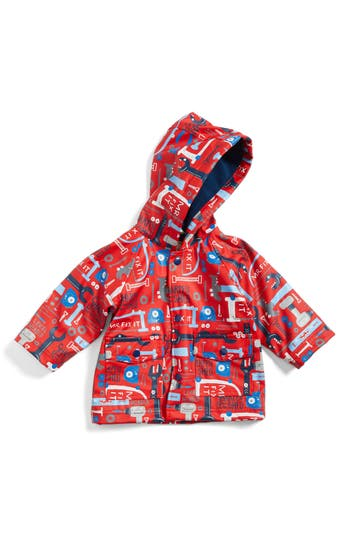 Infant Boy's Hatley Hooded Print Raincoat, Size 9-12M - Red