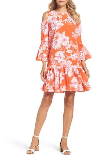 Eliza J Cold Shoulder Bell Sleeve Dress, Orange
