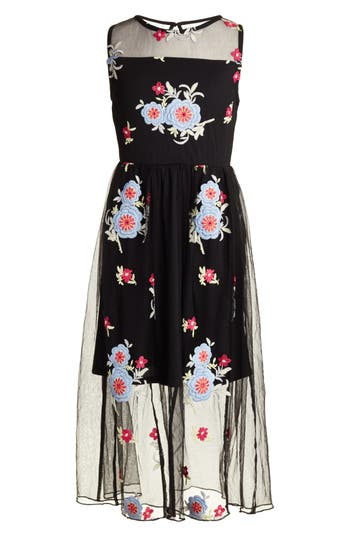 Girl's Trixxi Floral Embroidered Dress