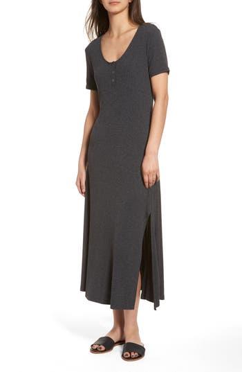 Lush Rib Knit Midi Dress, Grey
