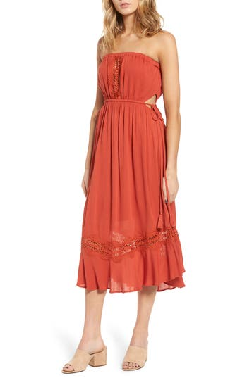 Lush Lace Inset Strapless Dress, Red