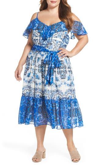 Plus Size Eliza J Cold Shoulder Tiered Chiffon Dress, Blue