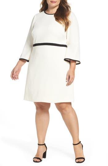 Plus Size Eliza J Bell Sleeve Fit & Flare Dress, Ivory