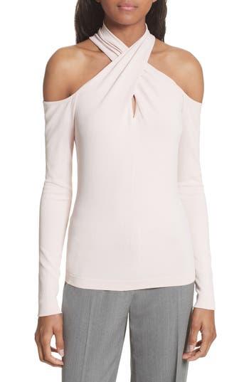 Women's Milly Crisscross Keyhole Neck Top, Size Petite - Pink