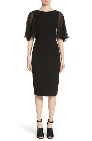 Michael Kors Draped Chiffon Sleeve Dress, Black