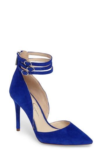 Jessica Simpson Linnee Ankle Strap Pump, Blue