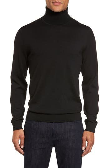 Big & Tall Nordstrom Shop Merino Wool Turtleneck Sweater, Black