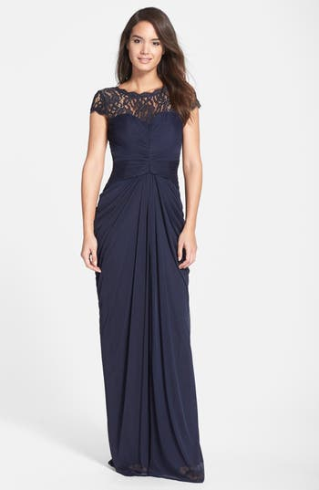 Adrianna Papell Lace Yoke Drape Gown, Blue