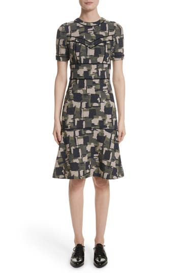 Yigal Azrouel Patchwork Stretch Jacquard Dress, Black