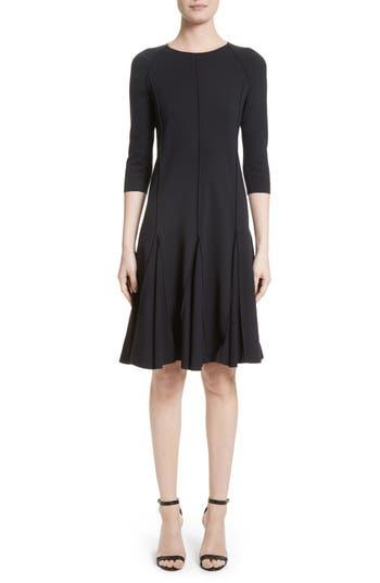 Armani Collezioni Seamed Jersey Fit & Flare Dress, Blue
