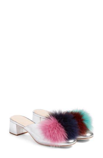 Loeffler Randall Lulu Genuine Fox Fur Mule, Metallic