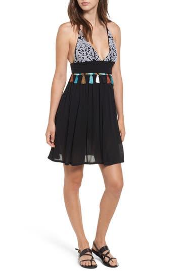 Raga Night Dust Embellished Strappy Dress, Black