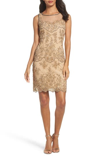 Pisarro Nights Embellished Dress, Beige
