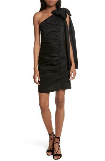 Sea Bow One-Shoulder Dress, Black