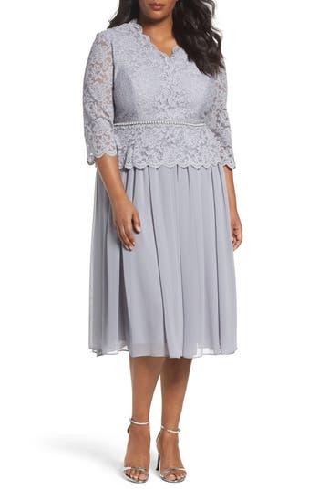 Plus Size Alex Evenings Embellished Mock Two-Piece Tea Length Dress, Grey