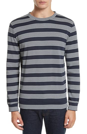 Men's A.p.c. Stripe Sweat Jeremie Sweater, Size Large - Blue