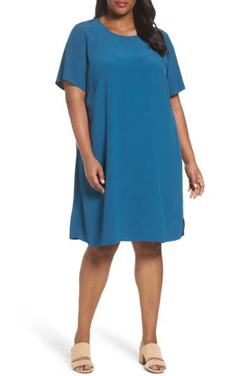 Plus Size Eileen Fisher Tencel Blend Jersey Shift Dress, Blue